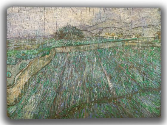Van Gogh, Vincent: Wheat Field in the Rain. Fine Art Canvas. Sizes: A4/A3/A2/A1 (003714)